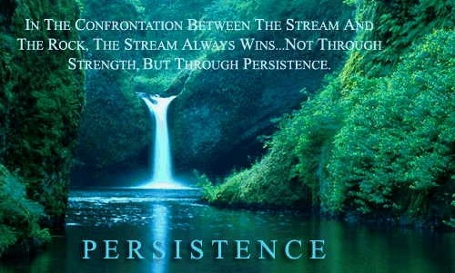 In the confrontation between the stream and the rock, the stream always wins...not through strength, but through persistence.